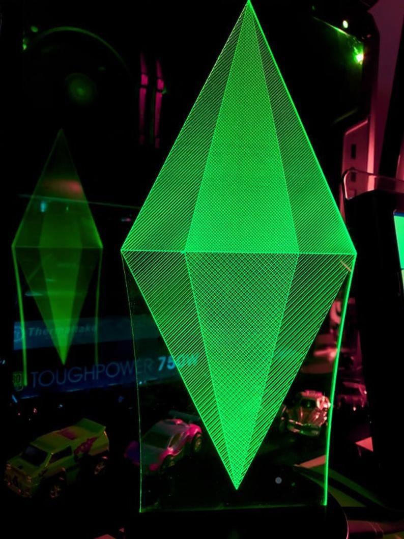 Sims Plumbob Edge Lit Led Lamp Etsy In 2020 Edge Lighting Lamp Led Lights
