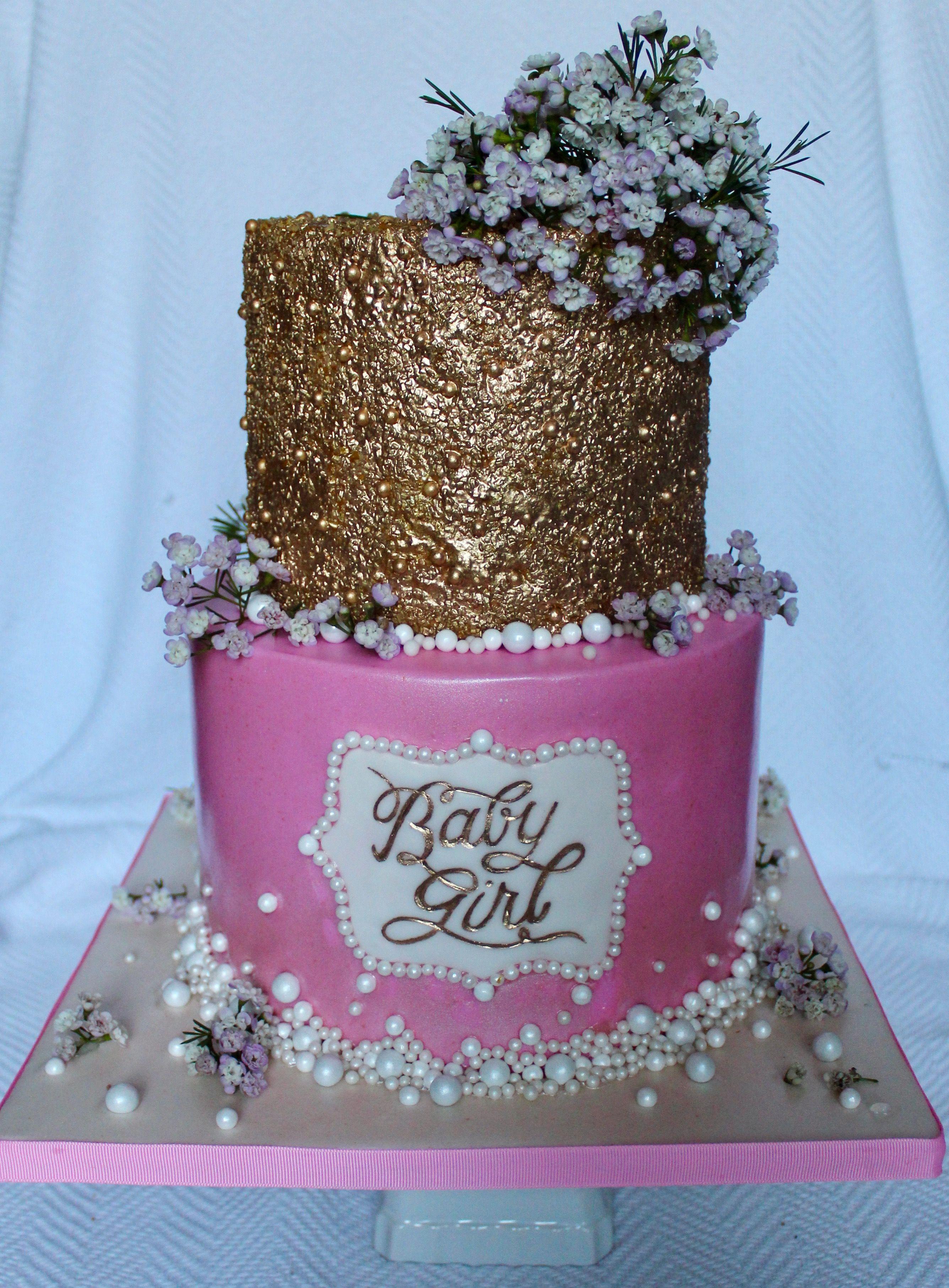 Glitter Bling Gold Amp Pink Baby Girl Shower Cake With Fresh