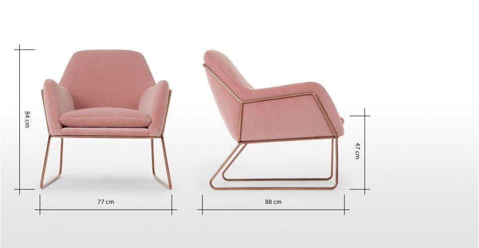 Frame Sessel Kupfer Und Samt In Rosa F U R N I T U R E