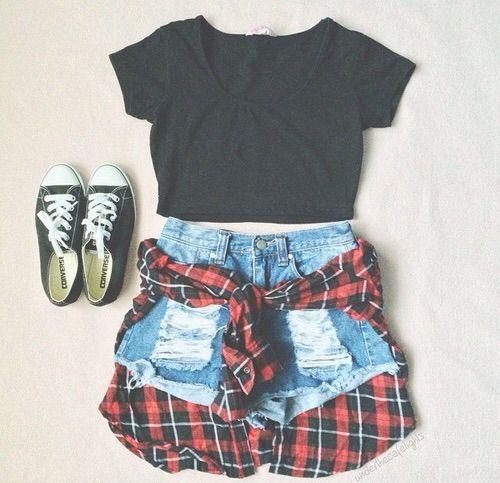 Image via We Heart It #converse #fashion #flannelshirt #grunge #jeansshorts #mode #outfit #rocky #shirt #style #femalefashion #shorttop