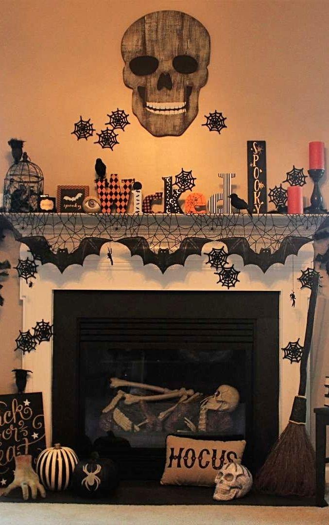 Photo Credit Brooke Rigby Grandin Road Spooky Decor Challenge 2016 Halloween Fireplace Halloween Mantel Decor Halloween Decorations Indoor