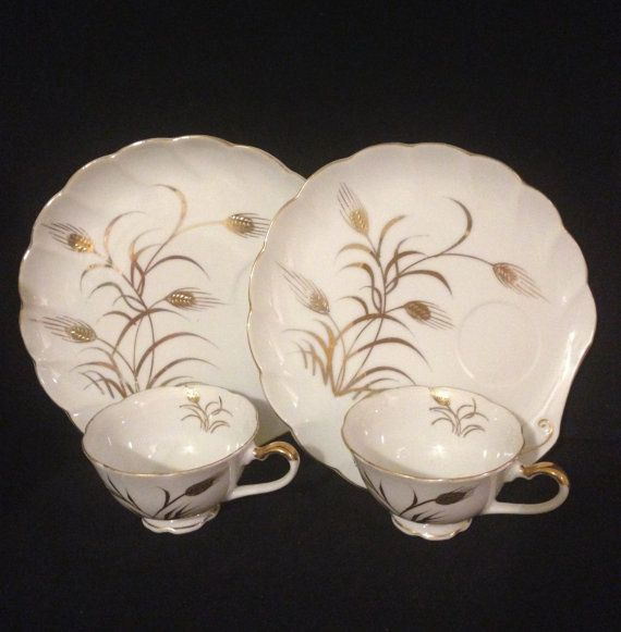 Lefton China Snack Set Vintage Gold Wheat Pattern Clam Shell Patio Plates  Mid Century China With