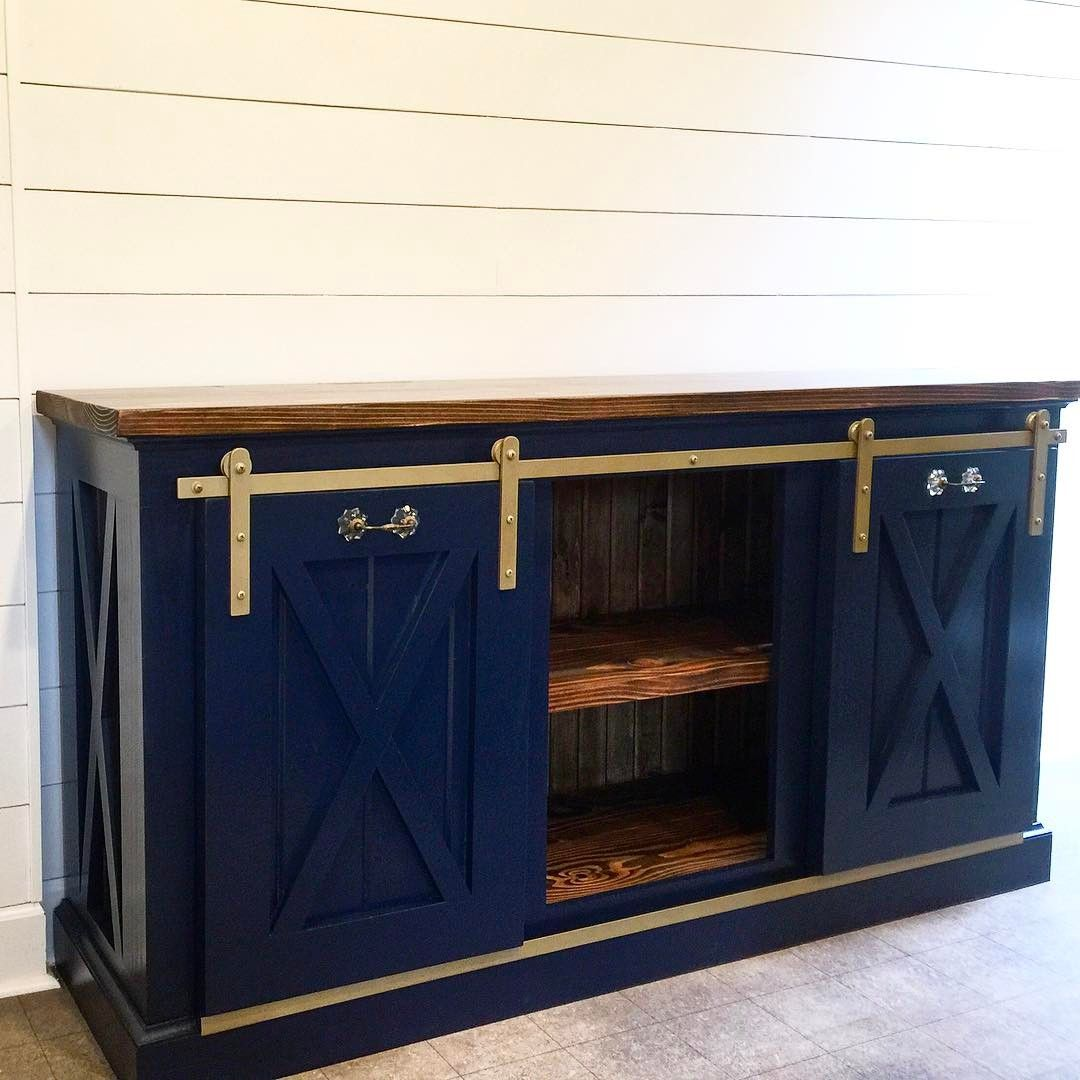 Our Planked X Console Featured In A Navy Blue Painted Exterior And A Dark Walnut Stained Interior And Top Barn Door Console Garage Door Styles Porch Furniture