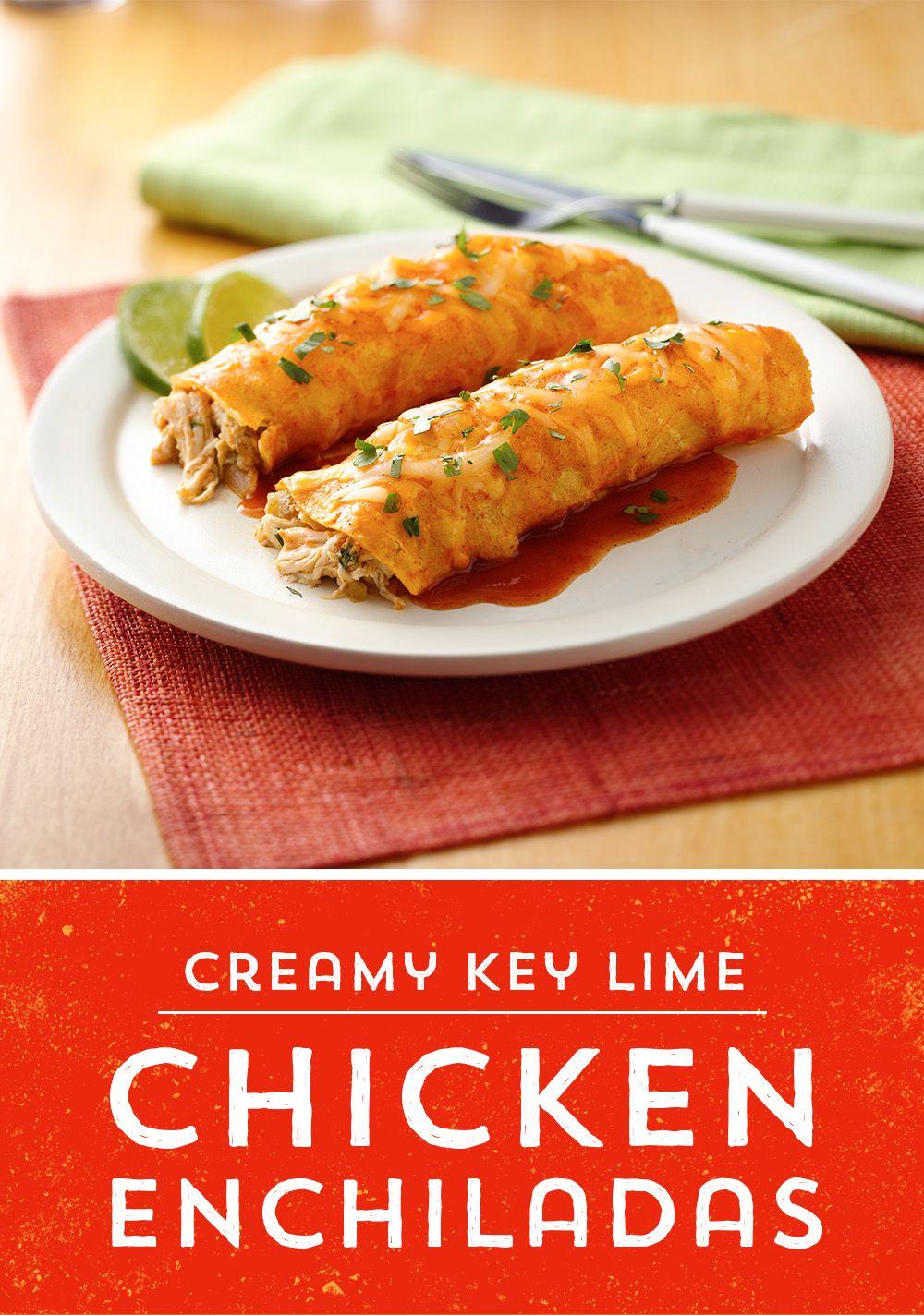 Creamy key lime chicken enchiladas mexican food recipes