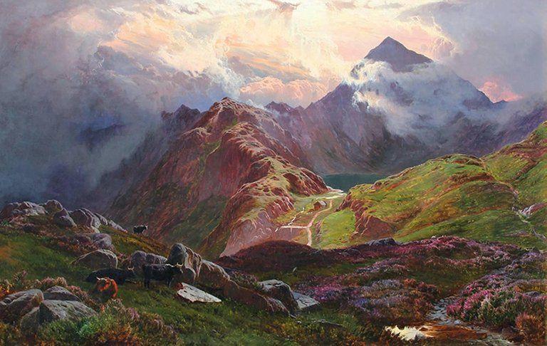 Sidney Richard Percy - Snowdon, from above Llyn Llydaw, North Wales - Sidney Richard Percy - British #northwales