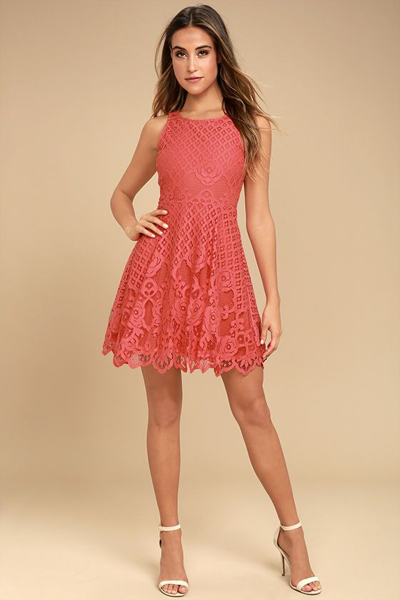 1885815c7a9c Don the Black Swan Desirae Coral Pink Lace Skater Dress and dazzle all you  encounter!