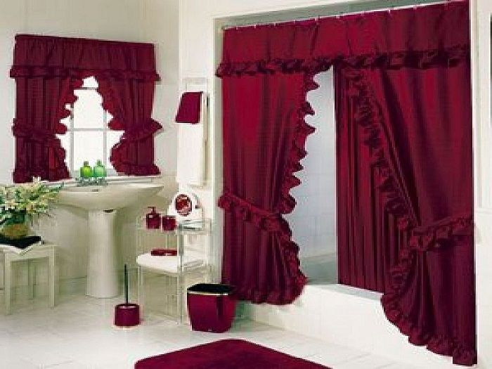 Luxury Bold Red Bathroom Shower Curtains Sets Cortina