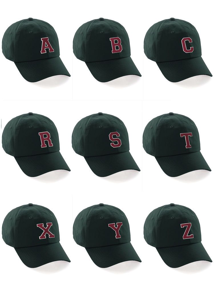Custom Dk Green Hat White Red A-Z Initial Raised Letters Classic Baseball  Cap  fashion   bf468ad0e27c
