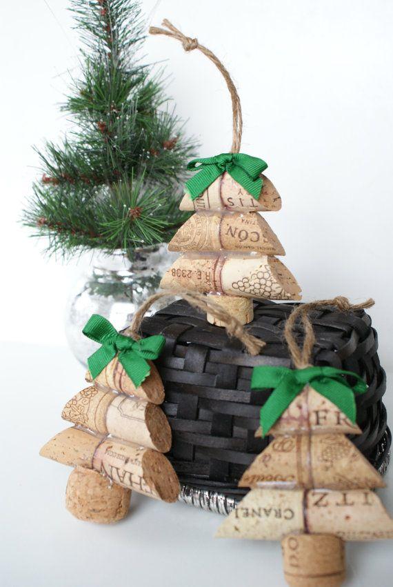 Items similar to Christmas Tree Wine Cork Ornament on Etsy