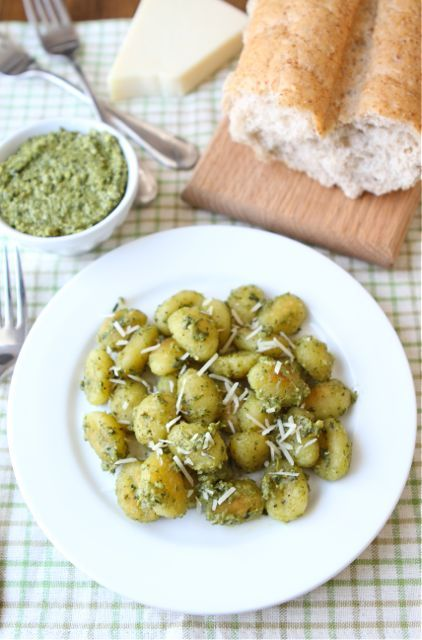 Easy Crispy Gnocchi with Basil Pesto Recipe on twopeasandtheirpod.com A quick and delicious dinner!