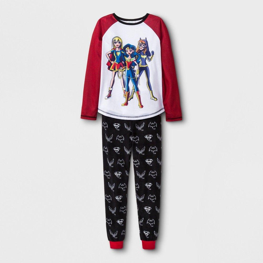 Girls  DC Super Hero Girls 2pc Pajama Set - Red White Black XS ... a456ba459