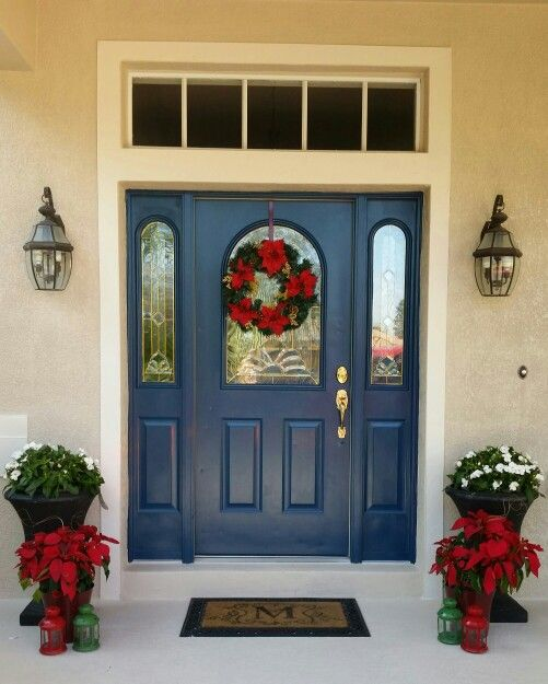 Front door decor sherwin williams rainstorm la maison - Exterior doors that open to the outside ...