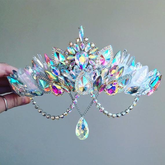 The Aurora Crystal and Quartz Gemstone Crown - Mer