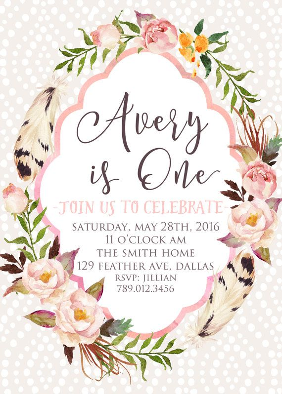 1st Birthday Invitation Printable Boho Chic Feather Girl First