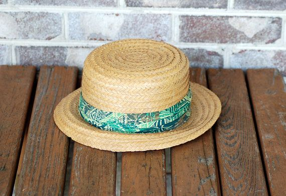 6af5597e856 1960s straw hat Men s straw hat Happy Cappers hat by vintagerunway