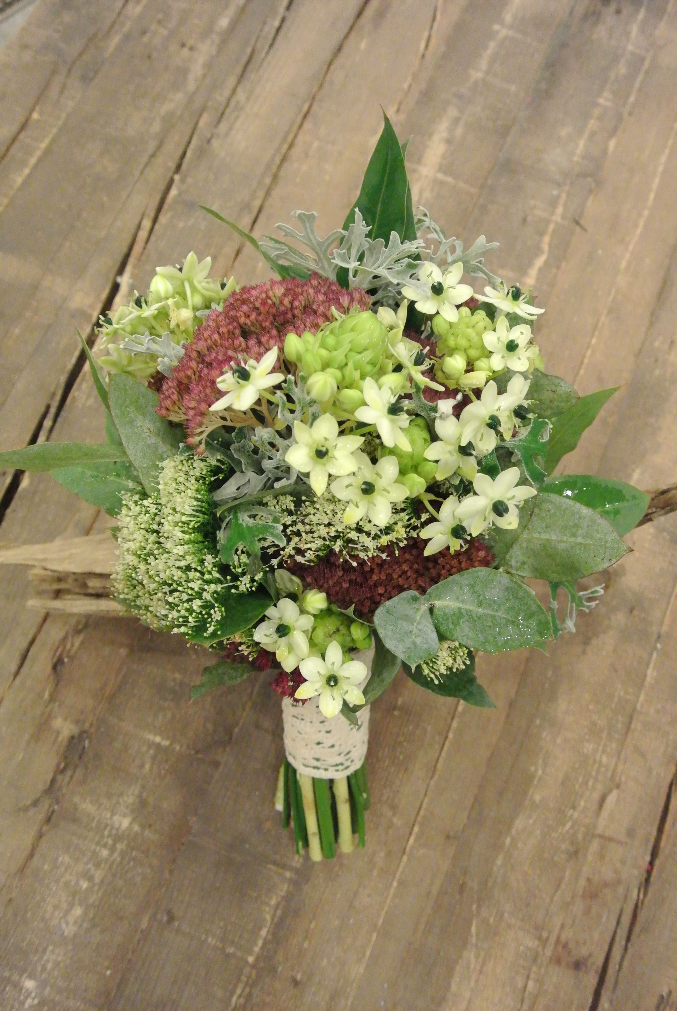 Unique Bridal Bouquet With Star Of Bethlehemsedums Eucalyptus