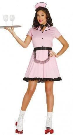 Womens 1950s American Diner Waitress Fancy Dress Costume