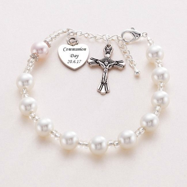 PERSONALISED CHRISTENING NAME DAY HOLY COMMUNION BRACELET WITH ENGRAVED HEART