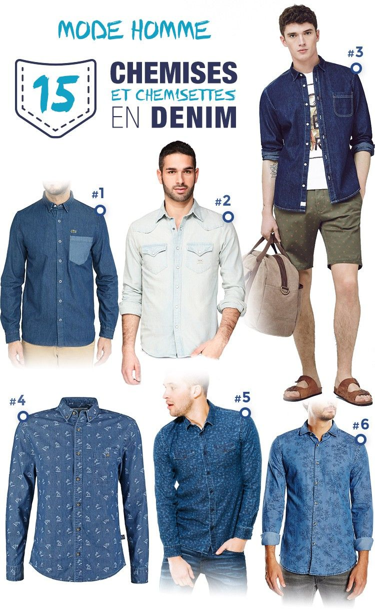 Chemise style jeans homme