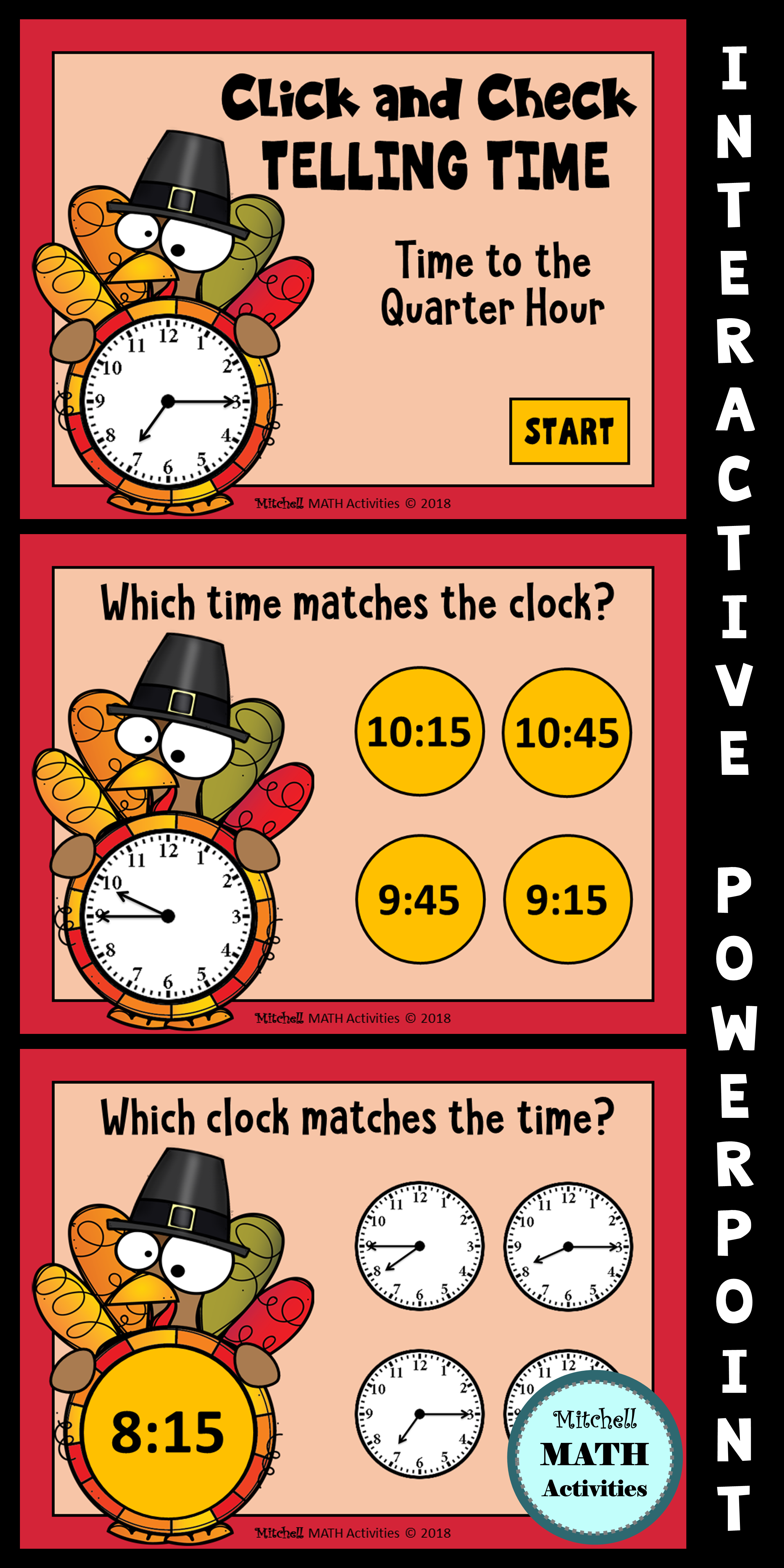 Click And Check Telling Time To The Quarter Hour