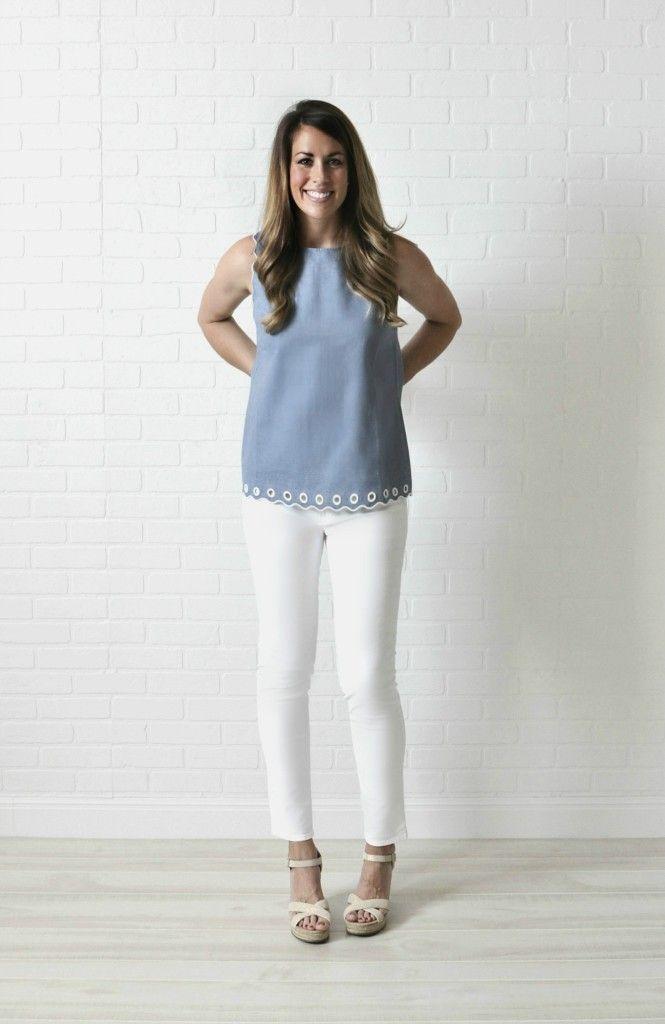 J. Crew top in tall // Gap white skinny jeans in long // Toms ...