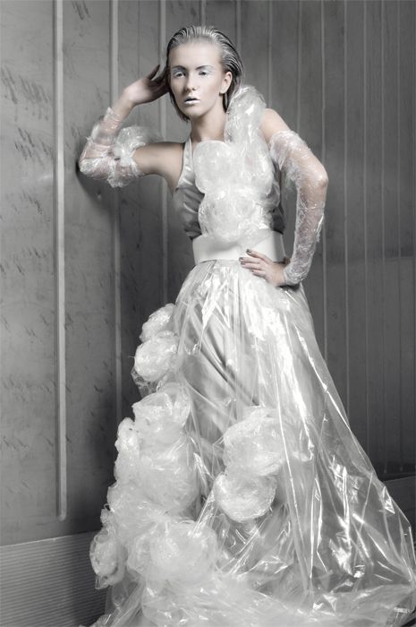 Sustainable Fashion Design - transparent dress made from recycled plastic…