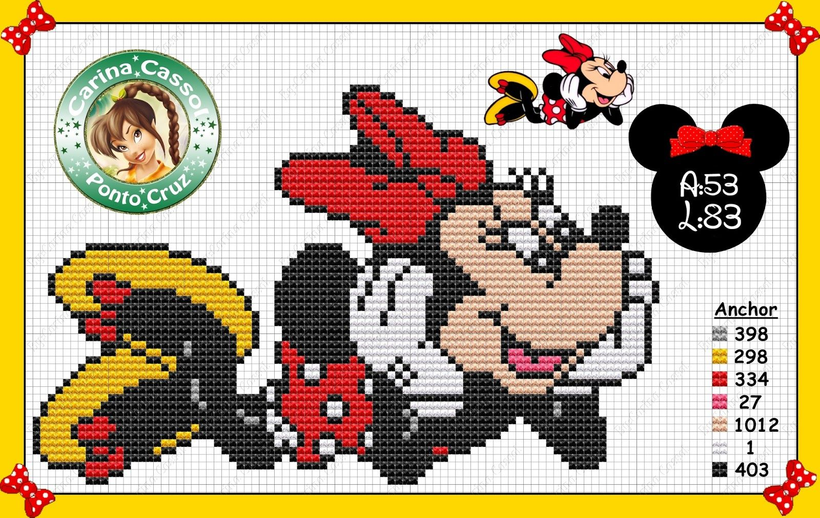 Minnie Mouse pattern by Carina Cassol - | plastic canvas/ cross ...