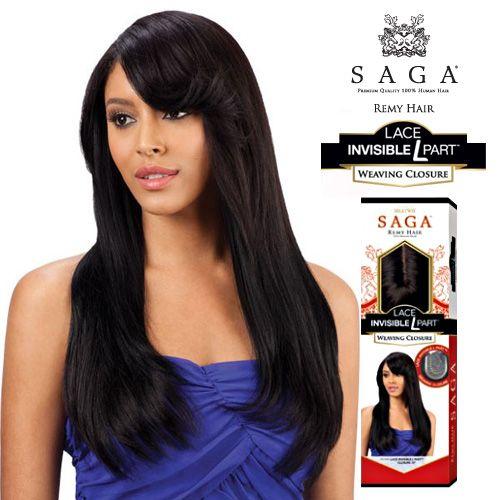 Milky Way Saga Remy Human Hair Weave Lace Invisible L Part Weaving Closure