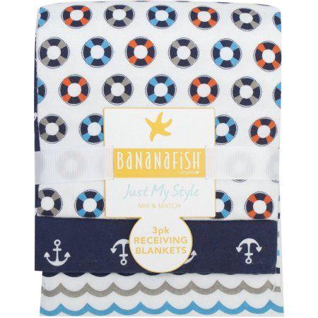 Walmart Swaddle Blankets Bananafish Studio Anchors Aweigh Receiving Blankets 3Pk Multicolor