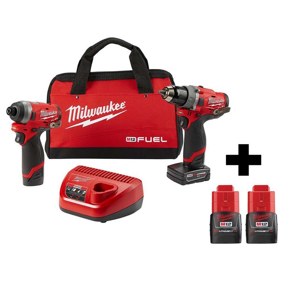 Milwaukee M12 Fuel 12 Volt Lithium Ion Brushless Cordless Combo Kit 2 Tool With Two Free M12 1 5ah Batteries In 2020 Drill Drill Driver Impact Driver