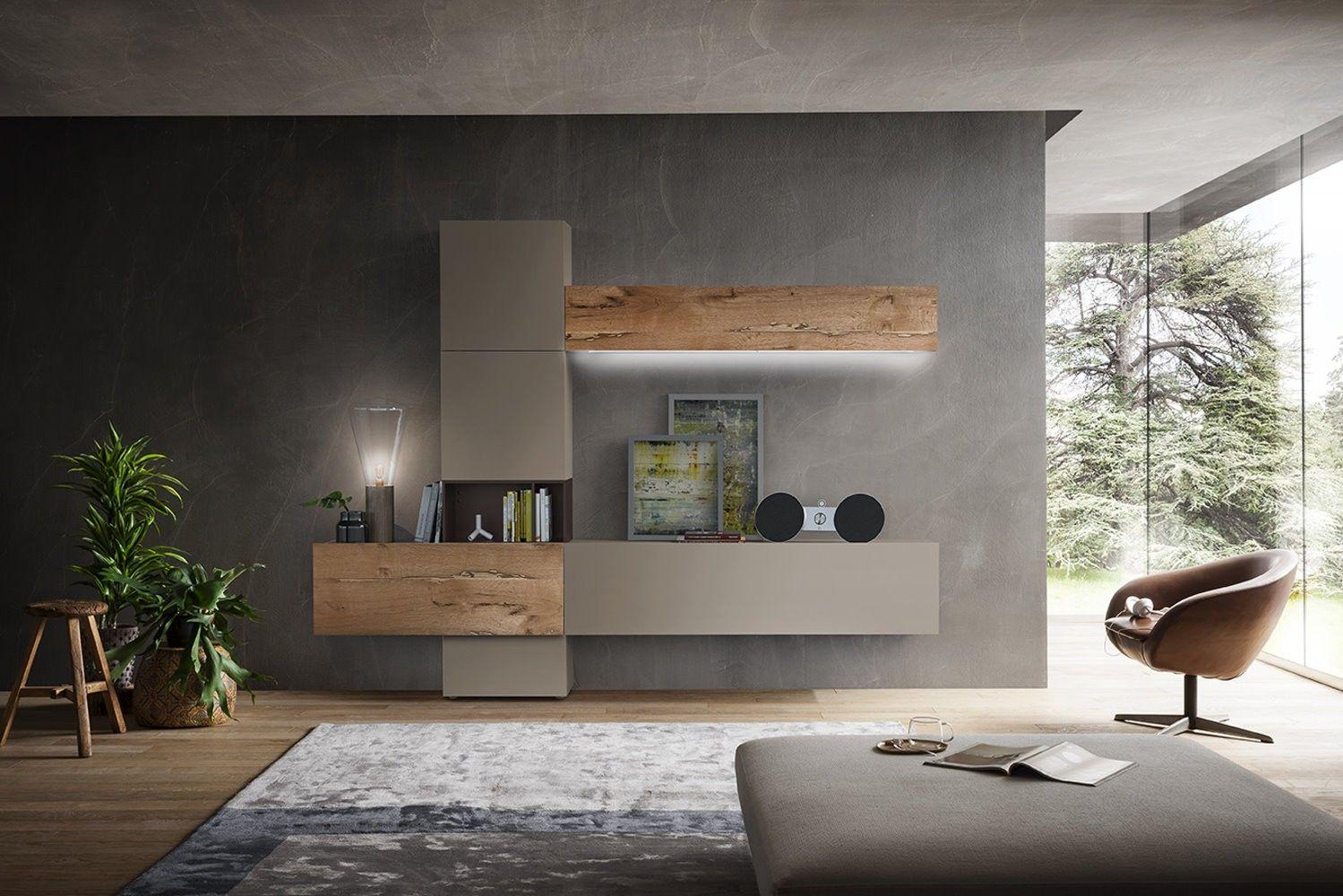 Parete attrezzata moderna in legno di recupero 200 napol for Mobili per soggiorno