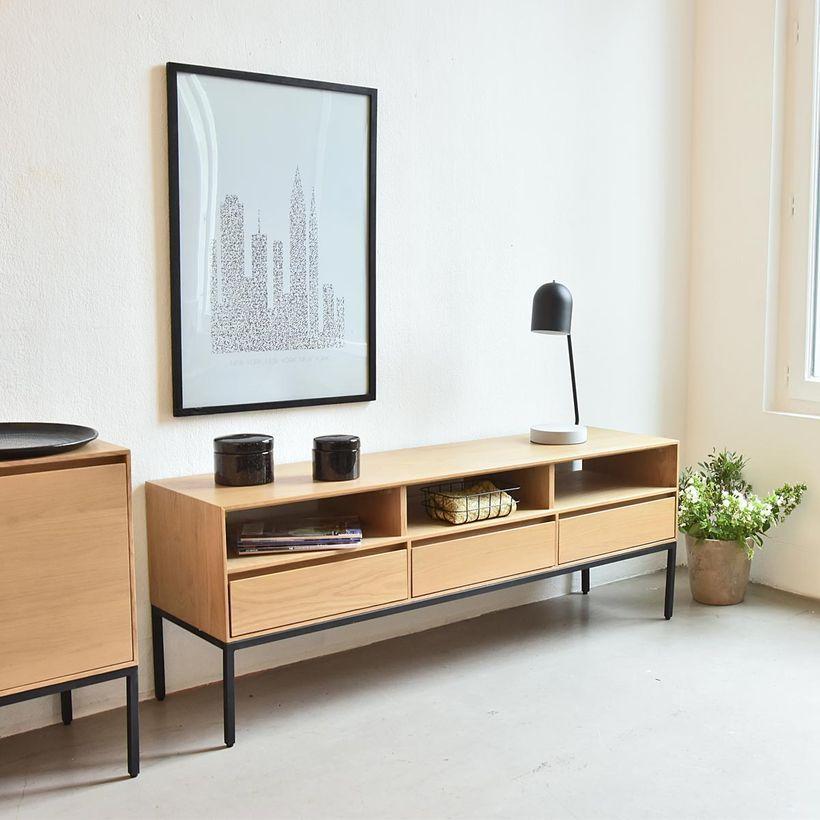 Meuble Tv En Chene Pieds Metal Noir Mat Soho Decoclico Decoration Maison Style Deco Meuble Tv
