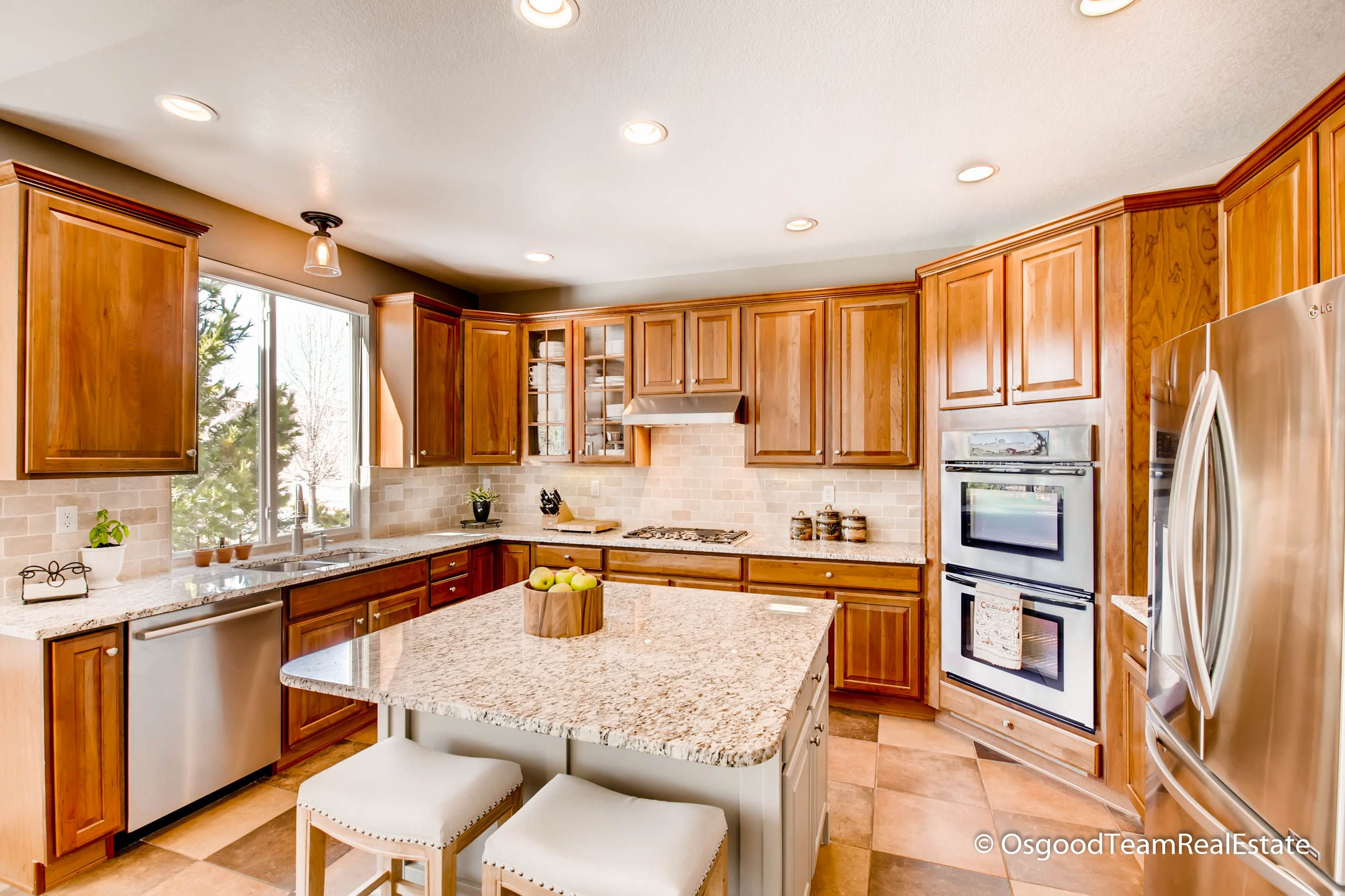 Stunning Kitchen With Lots Of Natural Light Cherry Cabinets, Granite