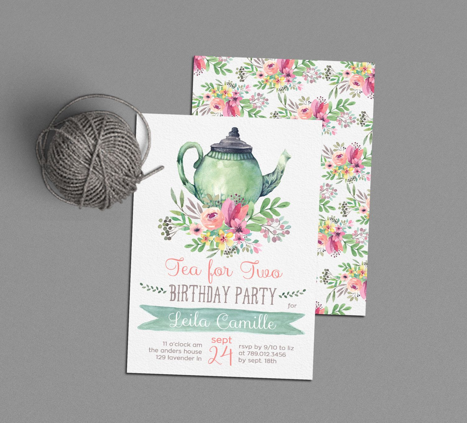Tea for Two Birthday Invitations Tea Party Invite Printable Tea
