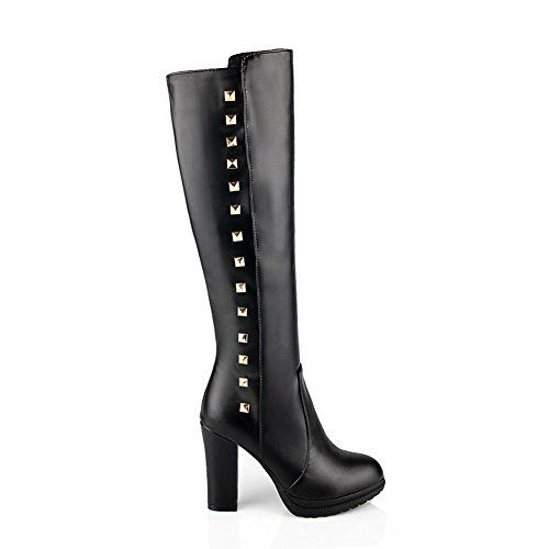 VogueZone009 Womens Round Closed Toe High Heel PU Soft Material Solid Boots with Platform and Rivet Black 8 BM US * More info could be found at the image url.