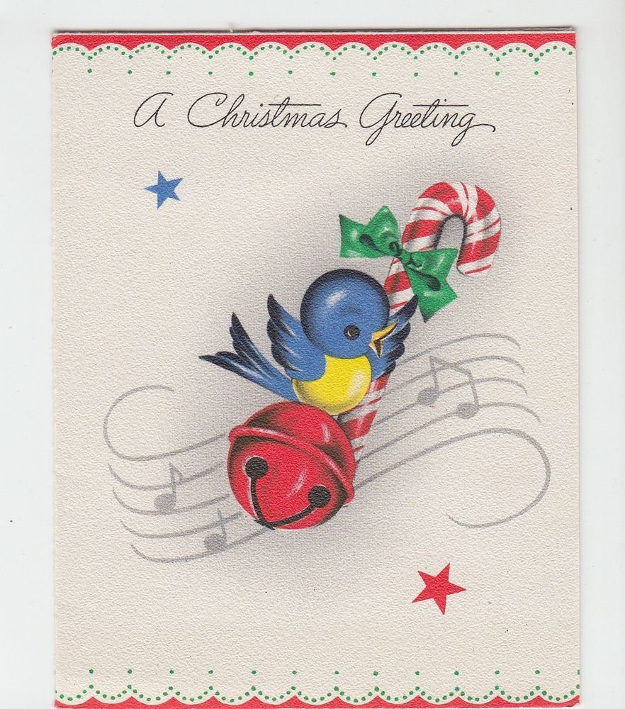 Vintage Bluebird With Candycane And Bell Music Christmas Greeting