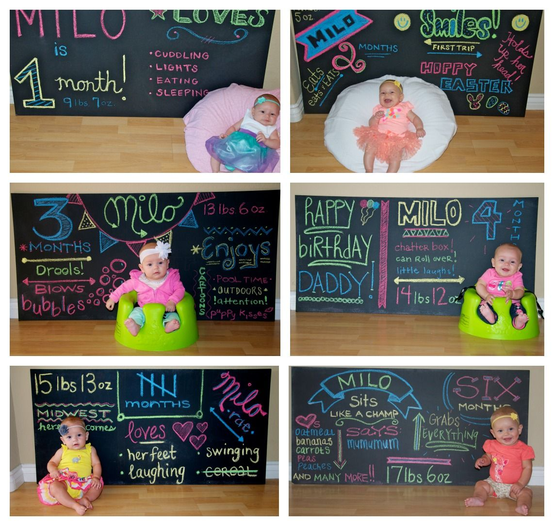 Scrapbook ideas baby milestones - Chalkboard Baby Monthly Milestones