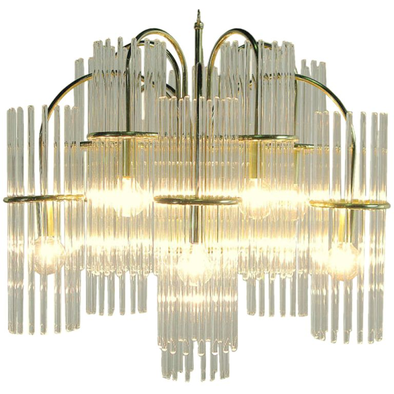 Lightolier glass rod brass fountain chandelier pendant lighting lightolier glass rod brass fountain chandelier from a unique collection of antique and modern audiocablefo