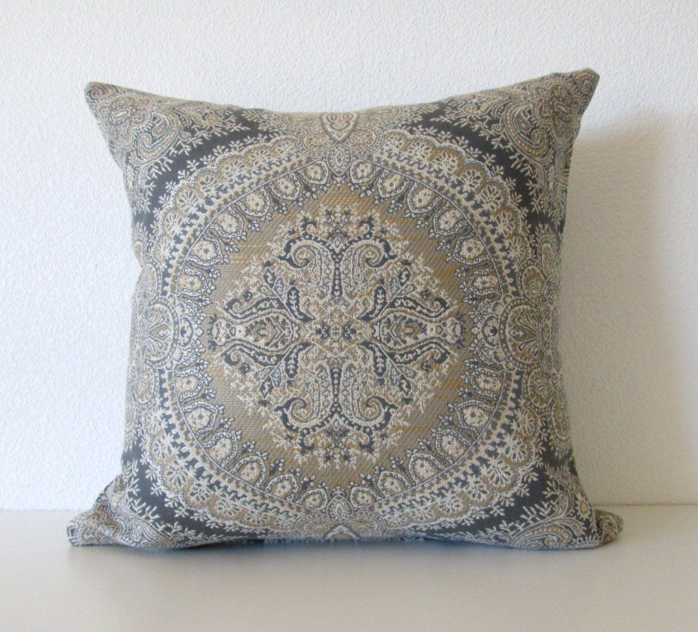 Stroheim Brianza Lace Harbor Grey 18x18 Throw Pillow Cover Ethno