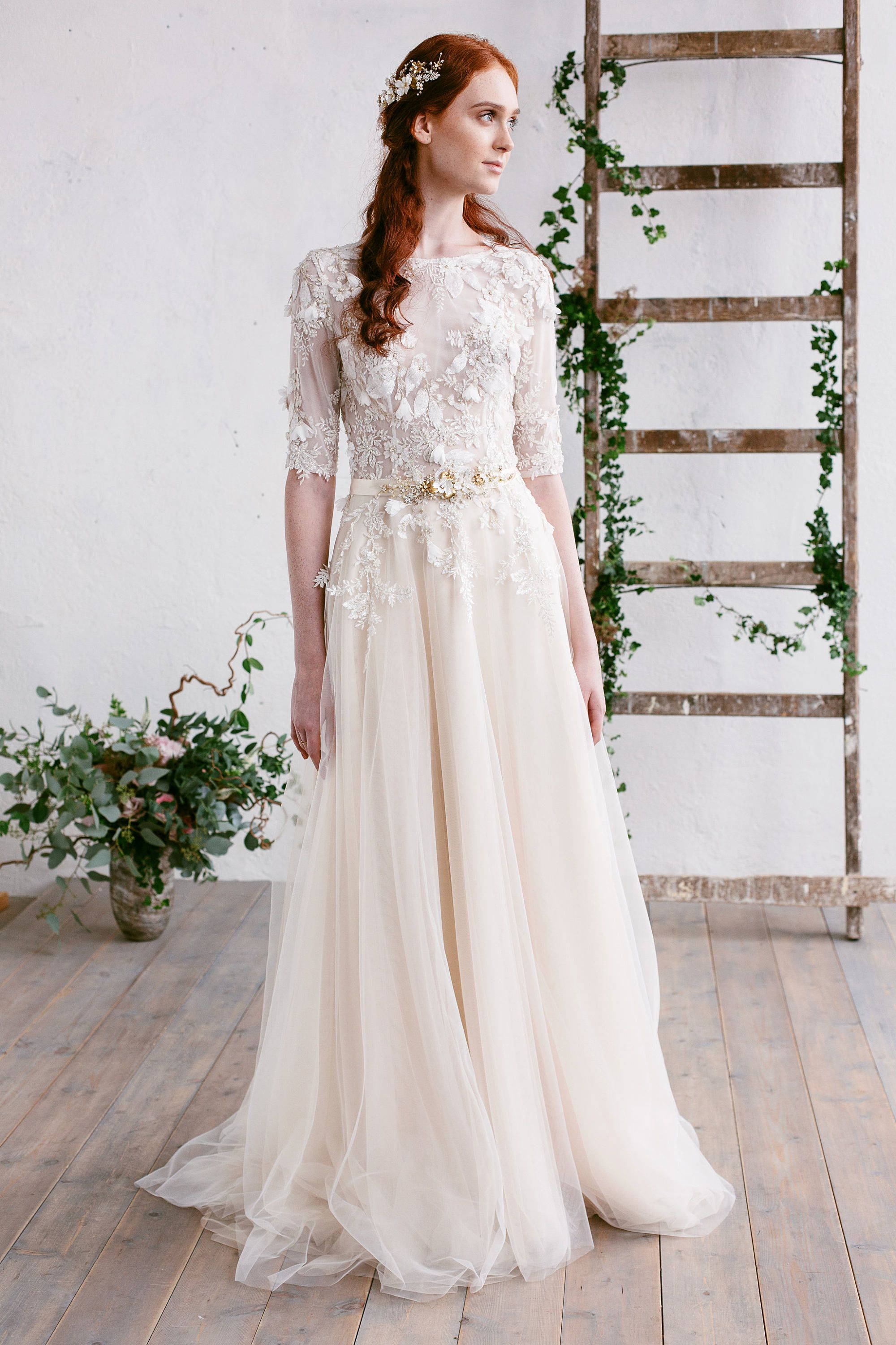 Lace wedding dress floral lace bridal gown low back gown nude