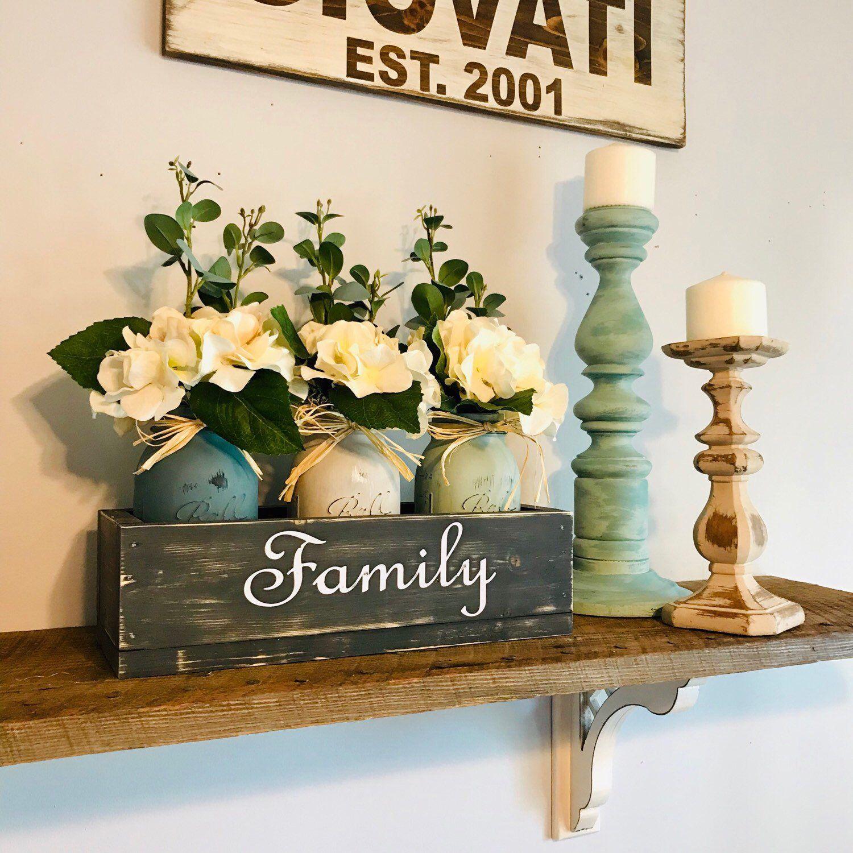 Farmhouse Shelf Decor, Floral Centerpiece, Personalized