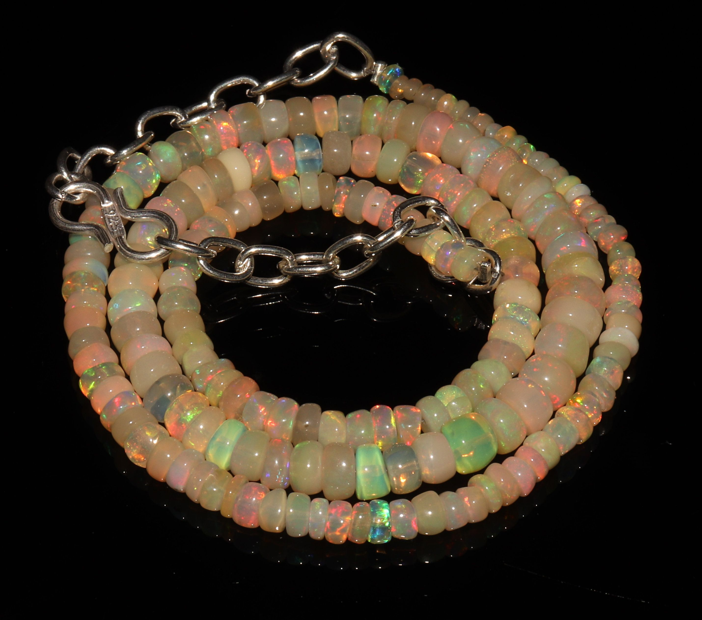 100/% Natural Ethopian Welo Fire Opal Gemstone  1 Strand 16 Inch  3 To 6 MM Multi Color Fire Opal