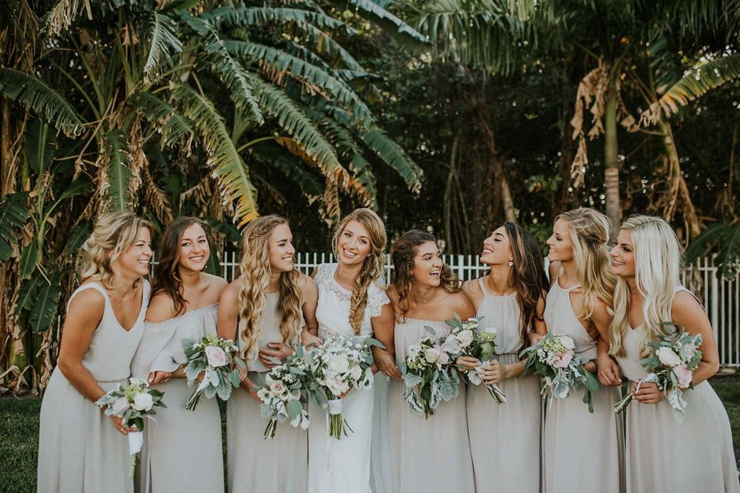 Long Light Grey Bridesmaids Dresses In Different Styles Are The Perfect Choice To Keep Your Outdoor Summer Wedding Elegant And Girls Comfy