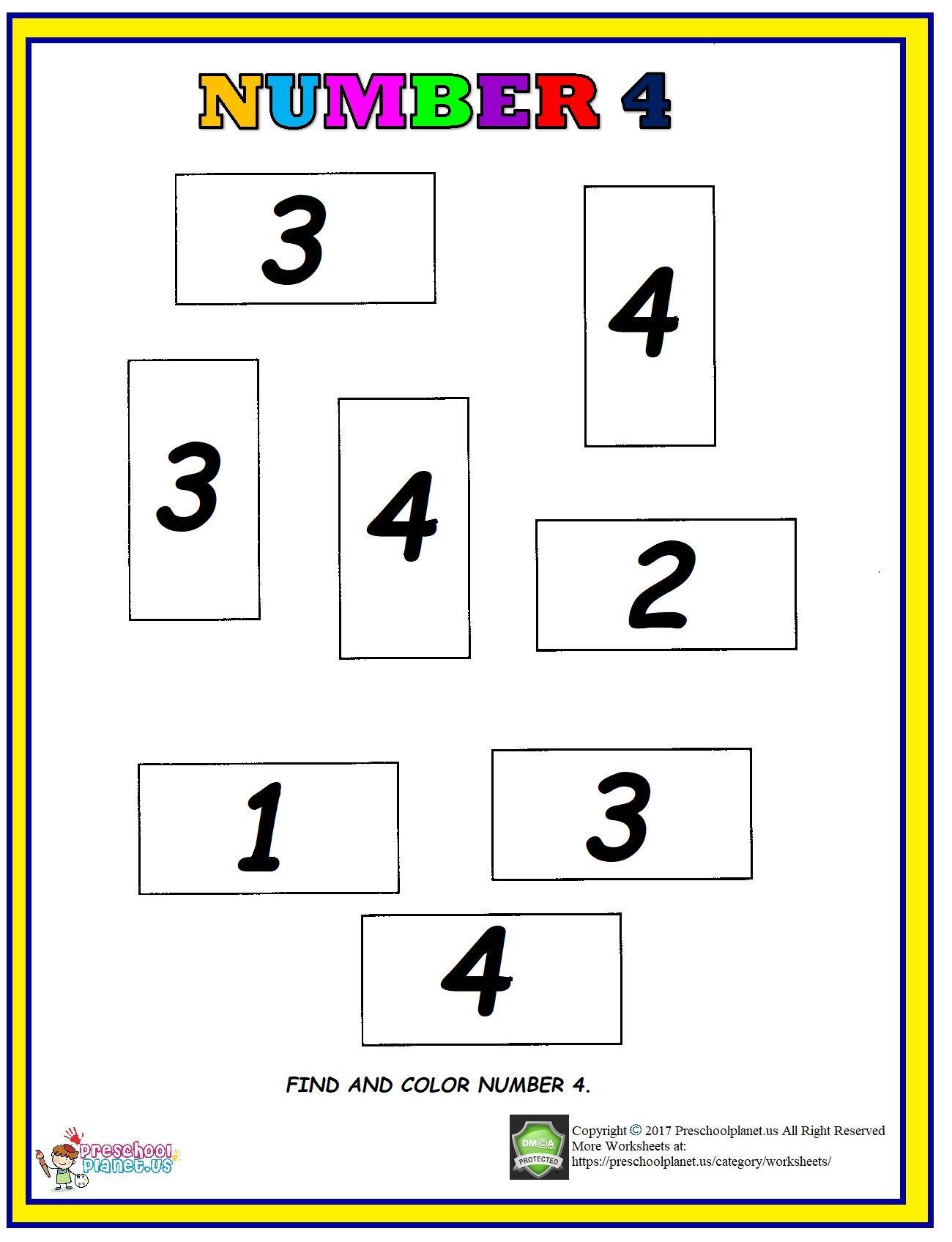 Number 4 Find And Color Worksheet Preschool Pattern Worksheets Alphabet Worksheets Preschool Color Worksheets