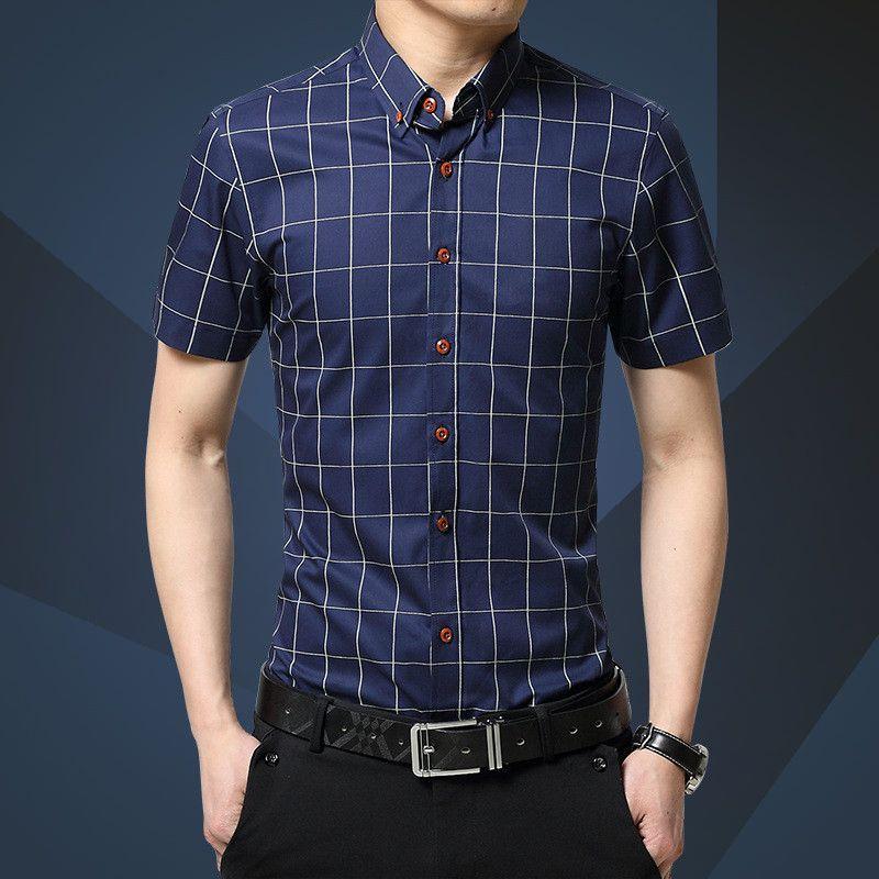 88073179307 New Autumn Fashion Brand Men Clothes Slim Fit Men Long Sleeve Shirt Men  Plaid Cotton Casual Men Shirt Social Plus Size M-5XL