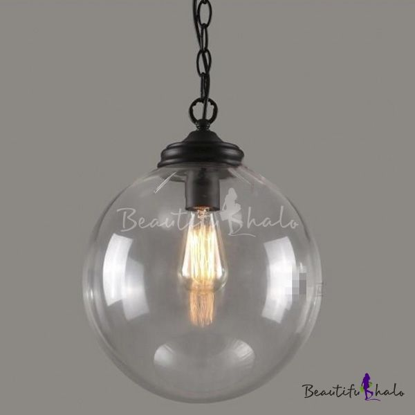 1 Light Globe Pendant Light Modernism Industrial Clear Glass