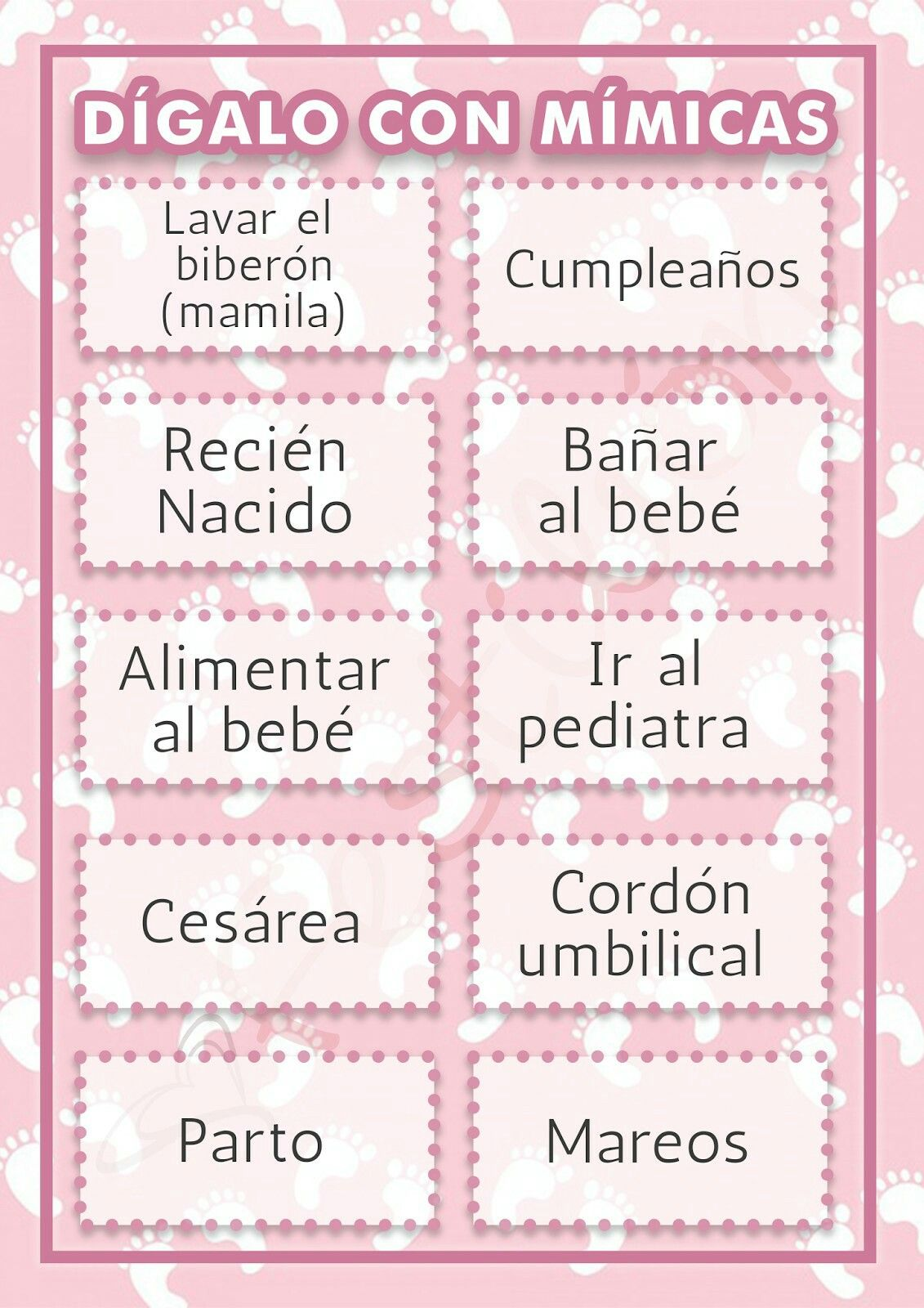 Juego mimica | baby shower | Pinterest | Baby Shower, Baby ...
