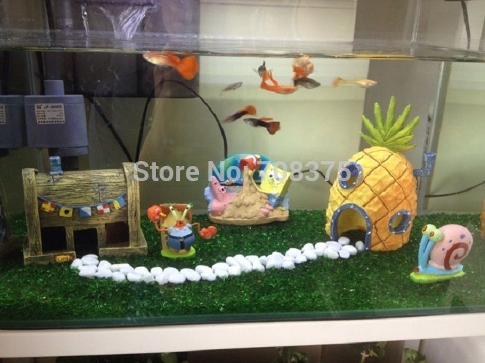 New 3pc set spongebob pineapple house squidward easter for Aquarium decoration set