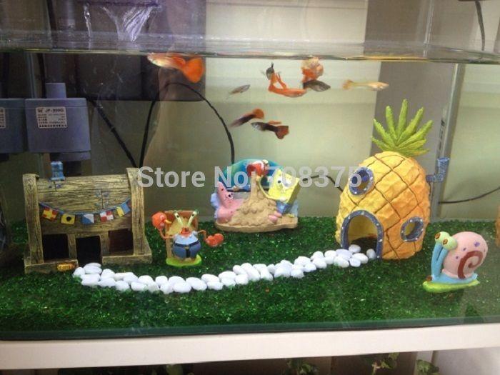 New 3pc set spongebob pineapple house squidward easter for Aquarium decoration set