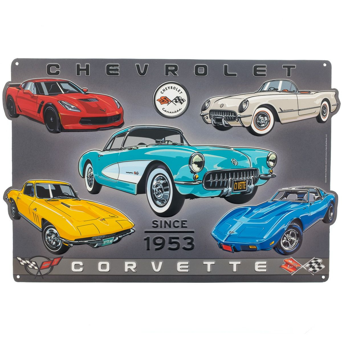 Chevrolet Corvette Since 1953 Collage Embossed Tin Sign_D